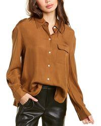 Vince Easy Utility Silk-blend Shirt - Brown