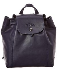 Longchamp Le Pliage Cuir Xs Leather Backpack - Blue