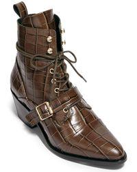 AllSaints Allsaints Katy Croc-embossed Leather Boot - Brown