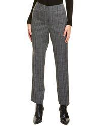 Kasper Plaid Slim Pant - Grey