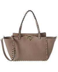Valentino Rockstud Trapeze Small Grainy Leather Tote - Brown