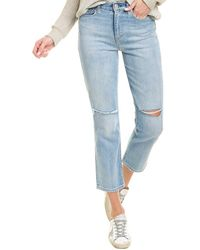 Hudson Jeans Holly Destructed Washed Out High-rise Straight Leg Crop Jean - Blue