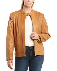 Cole Haan Plus Ribbed Leather Jacket - Multicolour