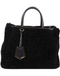 Fendi Black Shearling & Leather Medium 2jours Satchel