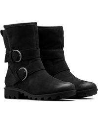 Sorel Phoenix Genuine Shearling Lined Moto Cozy Boot - Black