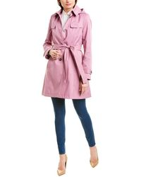 Via Spiga Belted Shield Trench Coat - Blue
