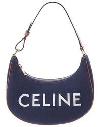 Celine Canvas & Leather Shoulder Bag - Blue