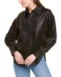 Tibi Celia Drape Origami Shirt - Black