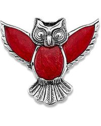 Samuel B. Jewellery Silver Coral Owl Pendant - Red