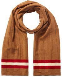 Bally Double Stripe Wool Scarf - Brown