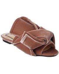 N°21 N?21 Velvet Flat Bow Mule - Pink