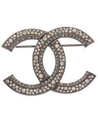 Chanel Silver-tone Crystal Cc Pin - Metallic