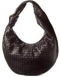 Bottega Veneta The Maxi Jodie Intrecciato Leather Hobo Bag - Black