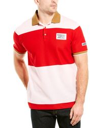 Burberry Logo Appliqué Striped Cotton Polo Shirt - Red