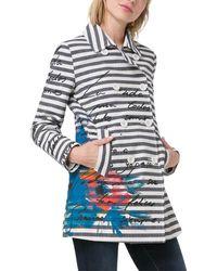 Desigual V-neck Coat - Multicolor