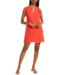 Vince Camuto Chiffon Float Keyhole Dress - Red