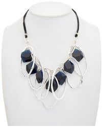Robert Lee Morris - Montana Plated Cz & Leather Statement Frontal Necklace - Lyst