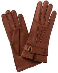 Portolano Belted Cashmere-lined Leather Gloves - Multicolor