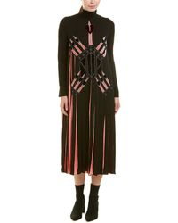 Valentino Valentino Garavani Pleated Silk Midi Dress - Black