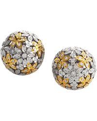 Heritage - Oro Trend 18k Two-tone 3.38 Ct. Tw. Diamond Flower Ball Studs - Lyst