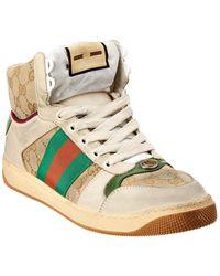 Gucci Screener GG Supreme Canvas & Suede High-top Sneaker - White