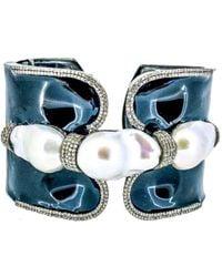 Arthur Marder Fine Jewelry 3.35 Ct. Tw. Diamond, 15-22 Mm Pearl, & Enamel Cuff - Blue