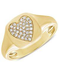Sabrina Designs 14k 0.10 Ct. Tw. Diamond Signet Ring - Metallic