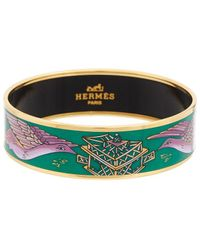 Hermès Plated Printed Enamel Wide Bangle - Green