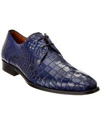Mezlan Gianni Croc-embossed Leather Oxford - Blue