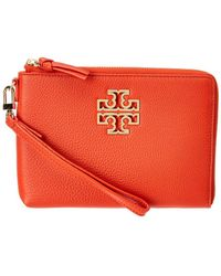 Tory Burch - Britten Large Pebbled Leather Pouch - Lyst