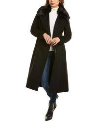 Cole Haan Wool-blend Faux Fur Coat - Black
