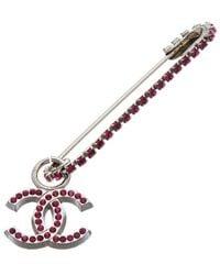 Chanel Silver-tone Cc Brooch - Metallic