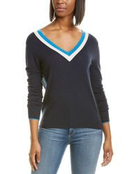 Autumn Cashmere Striped Tie-back Cashmere Jumper - Blue