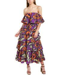 La DoubleJ Tosca Layered Midi Dress - Purple