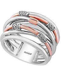 Effy Fine Jewellery 14k Rose Gold & Silver Diamond Earrings - Metallic
