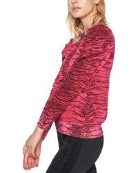 Pam & Gela Tiger Puff Sleeve Sweatshirt - Red