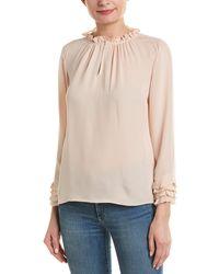 Rebecca Taylor Ruffle Silk Blouse - Pink