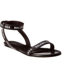 Balenciaga Logo Leather Ankle Strap Sandal - Black