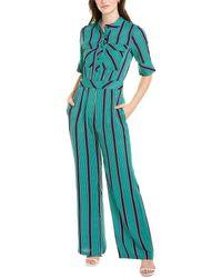 Gracia Pencil Stripe Jumpsuit - Green