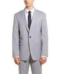 Vince Camuto Light Grey Solid Two Button Notch Lapel Slim Fit Suit
