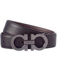 Ferragamo Reversible & Adjustable Double Gancio Buckle Leather Belt - Black