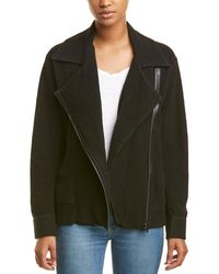 Three Dots Oversized Moto Jacket - Black