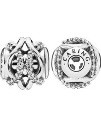 PANDORA - Essence Collection Silver Cz Caring Charm - Lyst