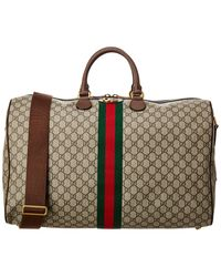 Gucci Ophidia GG Supreme Canvas & Leather Duffel Bag - Brown