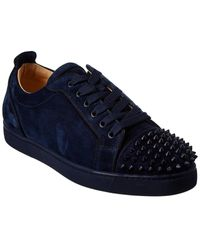 Christian Louboutin Louis Junior Spikes Suede Trainer - Blue