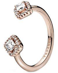 PANDORA Rose 14k Rose Gold Plated Square Sparkle Open Cz Ring - Metallic