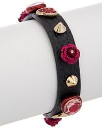 Betsey Johnson Roses Cz & Leather Wrap Bracelet - Multicolour