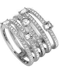 Swarovski Crystal Rhodium Plated Stainless Steel Ring - Metallic