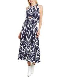 Rebecca Taylor Ikat Linen-blend Midi Dress - Blue
