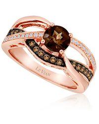 Le Vian 14k Strawberry Gold 0.82 Ct. Tw. Diamond & Smoky Quartz Ring - Metallic